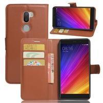 Graines knížkové PU kožené pouzdro na Xiaomi Mi5s Plus - hnědé