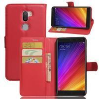 Graines knížkové PU kožené pouzdro na Xiaomi Mi5s Plus - červené