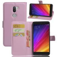 Graines knížkové PU kožené pouzdro na Xiaomi Mi5s Plus - růžové
