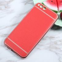Luxusní gelový obal s PU koženými zády na Xiaomi Mi6 - červený