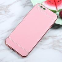 Luxusní gelový obal s PU koženými zády na Xiaomi Mi6 - růžový