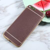 Luxusní gelový obal s PU koženými zády na Xiaomi Mi6 - hnědý
