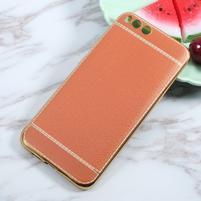 Luxusní gelový obal s PU koženými zády na Xiaomi Mi6 - oranžovohnědý