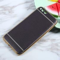 Luxusní gelový obal s PU koženými zády na Xiaomi Mi6 - černý
