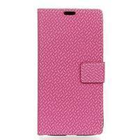 Wove PU kožené peněženkové pouzdro na Xiaomi Mi 8 - rose