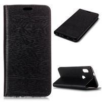 Wood PU kožené flipové pouzdro pro Xiaomi Redmi S2 - černé