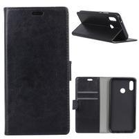 Crazy PU kožené peněženkové pouzdro pro Xiaomi Mi A2 Lite - černé