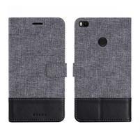 Muxa textilní/ PU kožené pouzdro na Xiaomi Mi Max 2 - černé