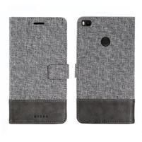 Muxa textilní/ PU kožené pouzdro na Xiaomi Mi Max 2 - šedé