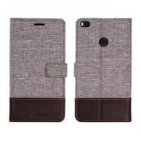Muxa textilní/ PU kožené pouzdro na Xiaomi Mi Max 2 - hnědé