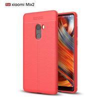 Litchi odolný obal s texturovanými zády na Xiaomi Mi Mix 2 - červený