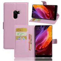 Cross PU kožené pouzdro na mobil Xiaomi Mi Mix - růžové