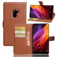 Cross PU kožené pouzdro na mobil Xiaomi Mi Mix - hnědé