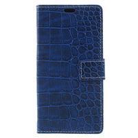 Croco PU kožené pouzdro na mobil Xiaomi Mi Note 3 - modré