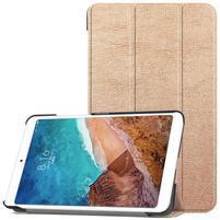 Triflod polohovatelné PU kožené pouzdro na tablet Xiaomi Mi Pad 4 - zlaté