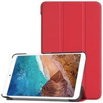 Triflod polohovatelné PU kožené pouzdro na tablet Xiaomi Mi Pad 4 - červené