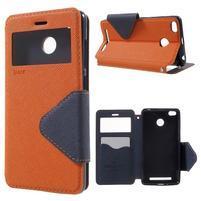 Peněženkové PU kožené pouzdro s okýnkem na Xiaomi Redmi 3S - oranžové