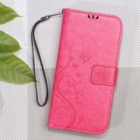 Butterfly PU kožené peněženkové pouzdro na Xiaomi Redmi 3S a 3 Pro - rose