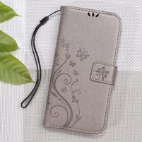 Butterfly PU kožené peněženkové pouzdro na Xiaomi Redmi 3S a 3 Pro - šedé