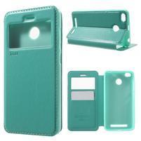 Noble PU kožené pouzdro s okýnkem na Xiaomi Redmi 3S a 3 Pro - cyan
