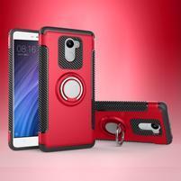 Ring odolný obal s držáčkem na Xiaomi Redmi 4 - červený