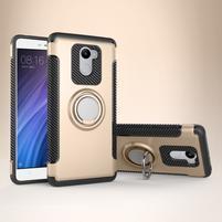 Ring odolný obal s držáčkem na Xiaomi Redmi 4 - zlatý