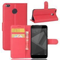 Graines PU kožené knížkové pouzdro na Xiaomi Redmi 4X - červené