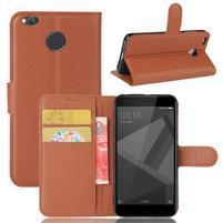 Graines PU kožené knížkové pouzdro na Xiaomi Redmi 4X - hnědé