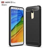 Carbon odolný gelový obal s texturou na Xiaomi Redmi 5 Plus - černý