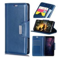 Wallet PU kožené peněženkové pouzdro na mobil Xiaomi Redmi Note 6 Pro - modré