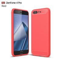 Carbon odolný gelový obal s broušením na Asus Zenfone 4 Pro ZS551KL - červený