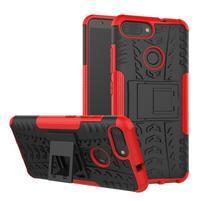 Outdoor odolný obal s výklopným stojánkem na Asus Zenfone Max Plus (M1) ZB570TL - červený