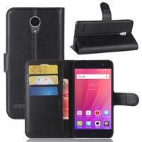 Litch PU kožené peněženkové pouzdro na ZTE Blade A521 - černé