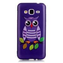 Softy gelový obal na mobil Samsung Galaxy J3 (2016) - fialová sova
