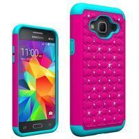 Odolný obal s kamínky na mobil Samsung Galaxy J3 (2016) - modrý/rose