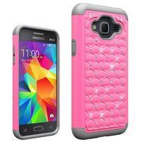 Odolný obal s kamínky na mobil Samsung Galaxy J3 (2016) - růžový