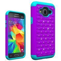 Odolný obal s kamínky na mobil Samsung Galaxy J3 (2016) - fialový/modrý