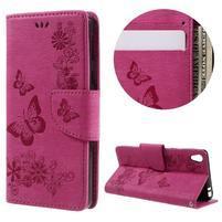 Butterfly PU kožené pouzdro na Sony Xperia E5 - rose