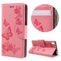 Butterfly PU kožené pouzdro na Sony Xperia E5 - růžové
