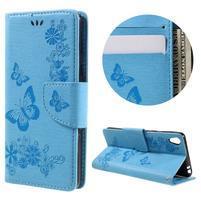 Butterfly PU kožené pouzdro na Sony Xperia E5 - světledmodré