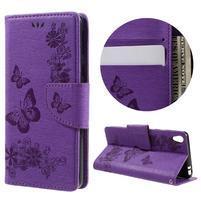 Butterfly PU kožené pouzdro na Sony Xperia E5 - fialové