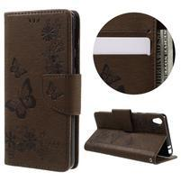Butterfly PU kožené pouzdro na Sony Xperia E5 - hnědé