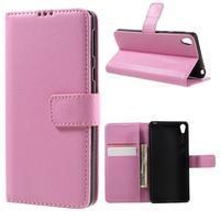 Leathy PU kožené pouzdro na Sony Xperia E5 - růžové