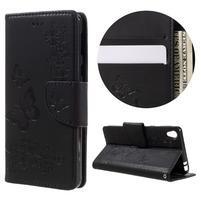 Butterfly PU kožené pouzdro na Sony Xperia E5 - černé