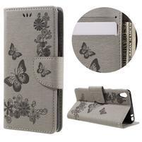 Butterfly PU kožené pouzdro na Sony Xperia E5 - šedé