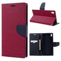 Diary PU kožené pouzdro na mobil Sony Xperia XA Ultra - rose