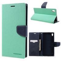 Diary PU kožené pouzdro na mobil Sony Xperia XA Ultra - azurové