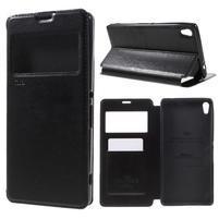 Richi PU kožené pouzdro s okýnkem na Sony Xperia XA Ultra - černé