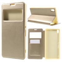 Richi PU kožené pouzdro s okýnkem na Sony Xperia XA Ultra - zlaté