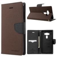 Diary PU kožené pouzdro na mobil Asus Zenfone 3 Deluxe - hnědé